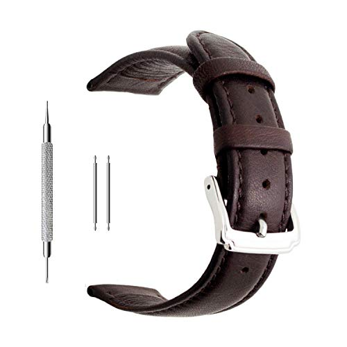 Berfine 18mm Brown Calf Leather Watch Band Replacement,Extra Soft Watch Strap for Men Women Dark Brown Leather Band