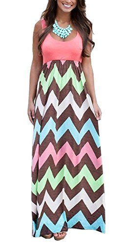 Demetory Women`S Bohemian Sleeveless Backless Wave Striped Maxi Dress (U12-14/Asian L, Pink)