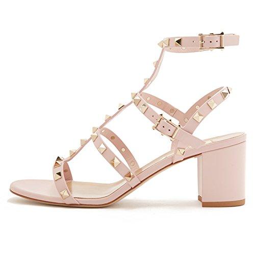Studded Heel Gladiator Sandals Ankle Rivets Block Strap Shoes 5cm Jushee Women's Dress Slingback Pink xqCBIzEnfw