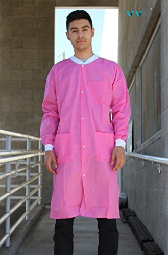 Premium Quality SMS Coat for Medical Professionals, Made of SMS Soft Fabric 3 Layer, Lab SMS Coat Static Free, Latex Free, Pack of 10, (Medium, Pink) by VIVID (Image #1)