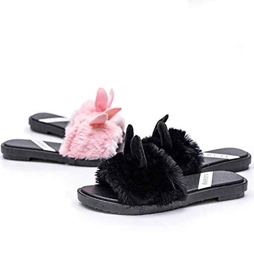Pink Low Cute Casa E Lady Selvaggia Faux Peluche heeled Pantofole Antiscivolo Sandali Donna Moda a6pnUwqOp