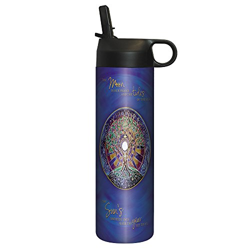 Tree-Free Greetings SP30387 Sportiva Stainless Steel Tumbler, Double-Walled and Vacuum Insulated Cup with Straw, 17 oz, Winter Solstice Mandala,
