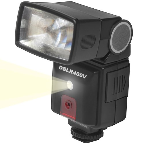 Precision Design DSLR400V High Power Auto Flash with LED Video Light for Panasonic Lumix G5, G6, GF5, GF6, GH3, GH4, GM1, GX7 Cameras