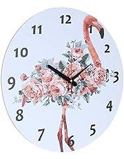 ساعة حائط خشب دائرية انالوج بعقارب شكل فلامينجو - 40 سم