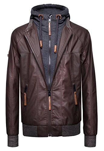 Hooded Mens Outerwear (blackmogoo Mens Faux Leather Jacket Outerwear Windbreaker and Waterproof Hooded Jacket, Brown, X-Large)