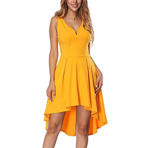 KUREAS Deep V Neck Summer Dress Sleeveless Sexy Backless Party Dresses