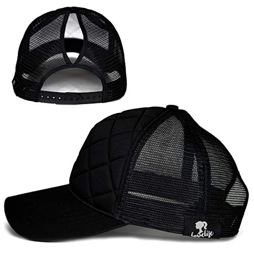 LoveLife Quilted Ponytail Baseball Hats (Black) by LoveLife (Image #4)