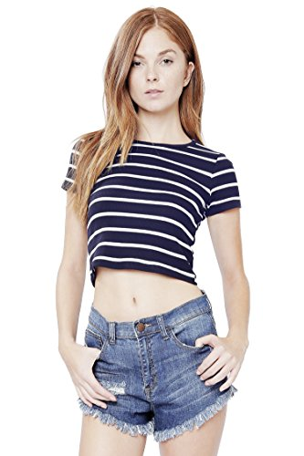 ALYGNE Womens Short Sleeve Crewneck Crop Top Shirt NAVY-S