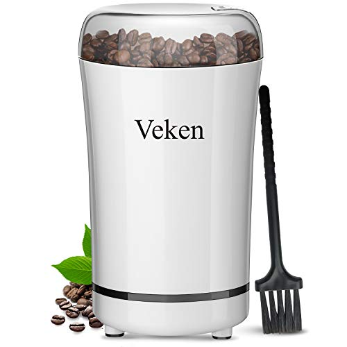 Veken Coffee Grinder Electric Spice & Nut Grinder with Stainless Steel Blade, Detachable Power Cord Coffee Bean Grinder for Coffee Grounds, Grains, 12 Cups (White) (Nuts And Seeds Grinder)