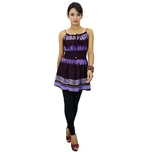 Boho Top del tirante de espagueti Vestido de tirantes verano de las mujeres túnica ocasional vestido de rayón Brown y púrpura