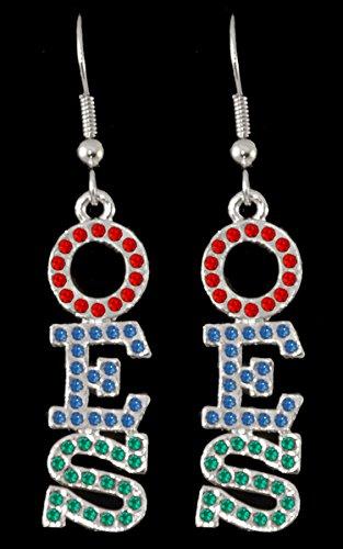Order of the Eastern Star (OES) Silver Crystal Earrings