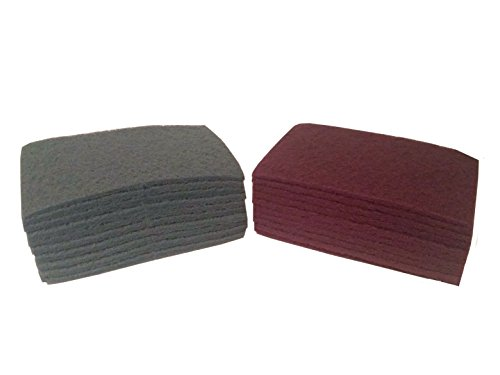6 Inch x 9 Inch Non Woven Scuff Hand Pads - Pack with 10 Maroon and 10 Grey (Flexible Finishing Pad)