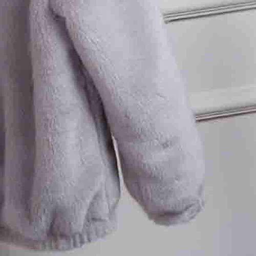 Grigio Da Calda Autunno Teddy In Lunghe Pile Inverno Giacca Abbigliamento Maniche Cappuccio Outwear Manica Donna Con Pullover A Felpa Imbottita EHqf1