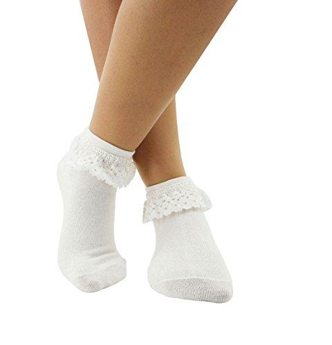 (Women Lace Ruffle Frilly Ankle Socks Fashion Ladies Girl Princess H04 (White-1)