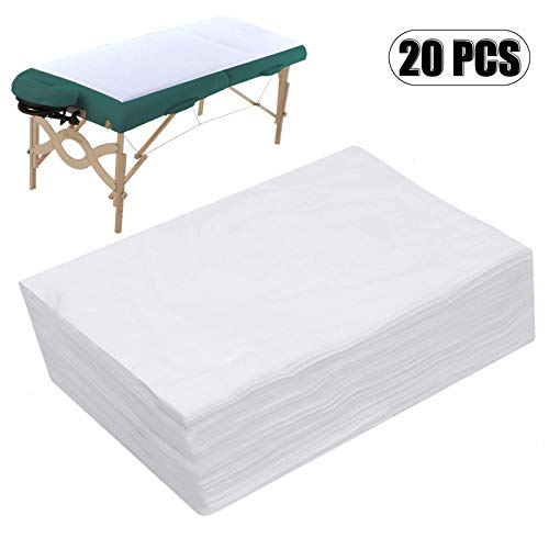 """AQUEENLY Spa Bed Sheets Disposable Massage Table Sheet Waterproof Bed Cover Non-woven Fabric, 27"""" x 67"""", 20 pcs"""