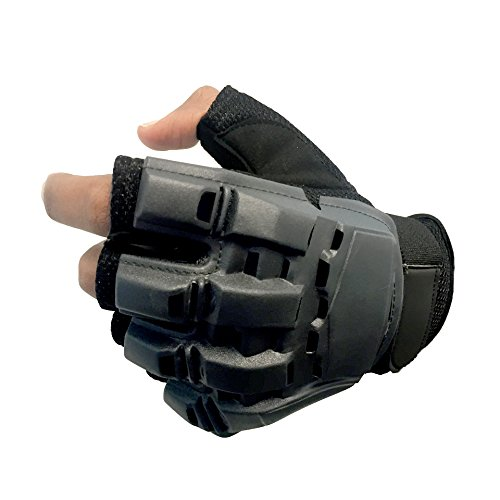 Sportly Tactical Fingerless Gloves – Best Grip in Any Conditions - Durable and Breathable - Ideal for Pistol Shooting, Paintball and Airsoft - Great as Mountain Bike or Motorcycle Glove- Large