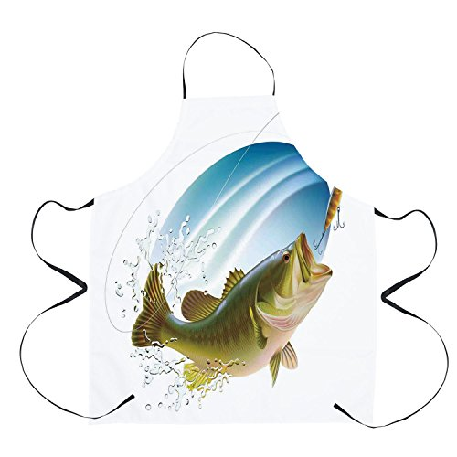 (Stylish Apron,Fishing Decor,Largemouth Sea Bass Catching a Bite in Water Spray Motion Splash Wild Image,Green Blue,Unisex Kitchen Bib Apron with Adjustable Neck for Cooking Baking Gardening Barbequing )