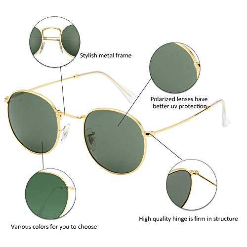b695c56001 LianSan Classic Metal Frame Round Circle Mirrored Sunglasses for Men and Women  Glasses 3447 Green Glass