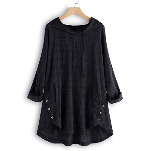 (TUSANG Women Tees Plus Size Long Sleeve Shirts TopsBaggy Button Cotton Linen Casual Loose Comfy Tunic Blouse(A-Black,US-10/CN-XL))