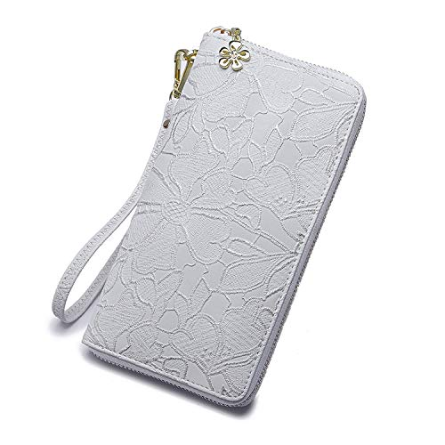 Women large Wallet soft leather wristlet Card Organizer Phone holder Ladies Clutch Long Purse with Wrist Strap Zipper around (white)