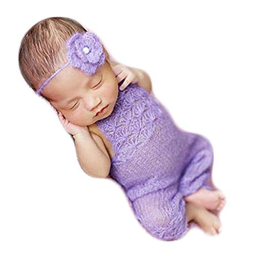 Newborn Photography Props Boy Girl Photo Shoot Outfits Crochet Costume Knitted Clothes Mohair Headdress Rompers (Purple)
