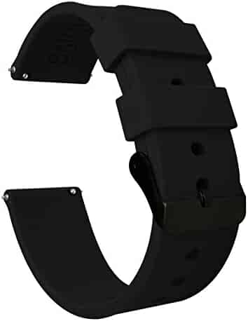 20mm Black - BARTON Watch Bands - Soft Silicone Quick Release - Black Buckle