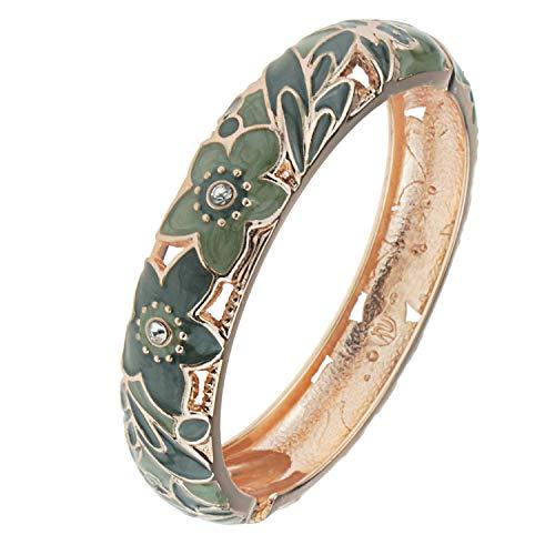 Crystal Enamel Cloisonne - UJOY Cloisonne Bangle Colorful Enamel Flower Golden Filigree Hollowed Crystal Bracelet for Women Gifts 88A11 Green