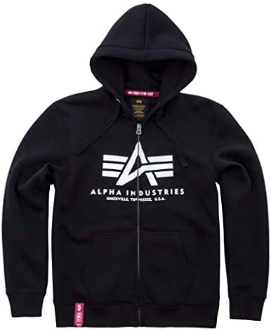 Alpha Industries Men Zip Hoodie Basic, Größe:4XL, Farbe:Black
