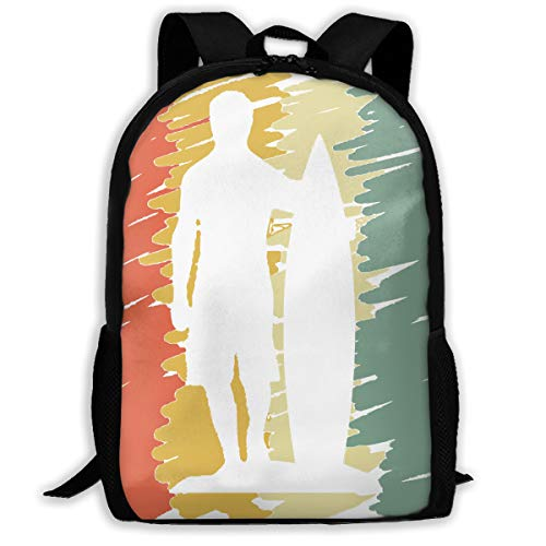 Surfer Surfing Vintage Silhouette.png Travel Hiking Lightweight Mens Womens Unisex Computer Gaming Laptop Backpack,Boys Girls School Book Bag