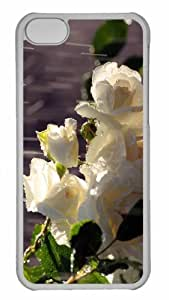 Customized iphone 5C PC Transparent Case - White Roses In The Rain Personalized Cover