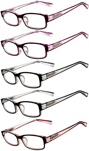 Readers 5 Pack of Elegant Womens Reading Glasses with Beautiful Patterns for Ladies Deluxe Spring Hinge Stylish Look 180 Day Guarantee - Low Online Glasses Price