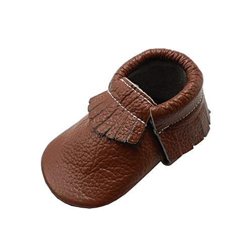 YIHAKIDS Baby Tassel Shoes Soft Leather Sole Infant Toddler Crib First Walkers Moccasins Brown(size 4,3-6 months/4.5in) ()