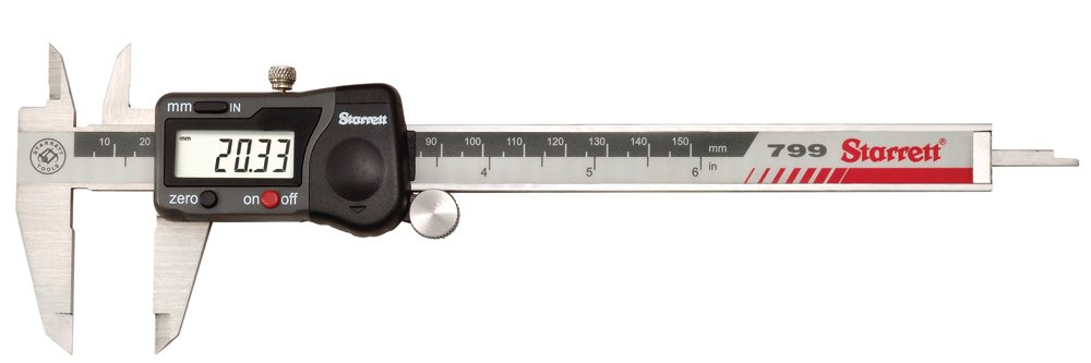 Starrett 799A-6/150 Digital Caliper, Stainless Steel, Battery Powered, Inch/Metric, 0-6'' Range with a NIST-Traceable Calibration Certificate with Data