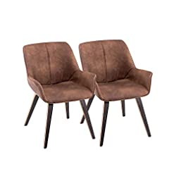 Farmhouse Accent Chairs YEEFY Brown PU Leather Living Room Chairs with arms Upholstered Accent Chairs Set of 2 (Brown) farmhouse accent chairs