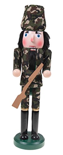 Army Soldier Nutcracker by Clever Creations | Traditional Festive Christmas Decorative Nutcracker | Wearing Camouflage and Carrying Rifle | 100% Wood | Perfect for Shelves and Tables | 15