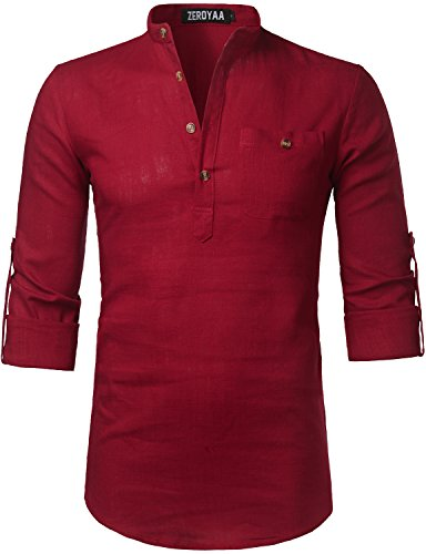 ZEROYAA Mens Hipster Casual Basic Linen Henley Roll-up Sleeve T Shirts with Pocket Z41-Red - Red Linen
