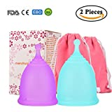 Menstrual Cup Tampon and Pad Alternative, Medical-Grade Silicone Feminine Hygiene Protection Soft Menstrual Cups Free Storage Bags (pink and purple)