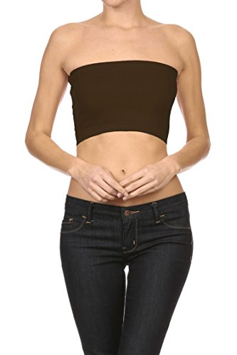 Cropped Tube Top (Bubble B Women's Seamless Solid Colored Bandeau Tube Top Brown One Size)