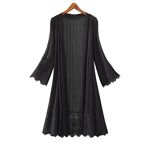 Price comparison product image SMALLE Fashion Casual Perspective US Long Section Women Long Sleeve Lace Top Blouse T-Shirt Smock (XL,  Black)