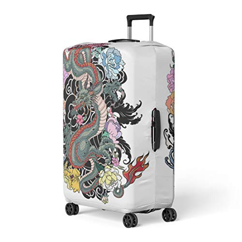 c55f0caf1628 Pinbeam Luggage Cover Japanese Old Dragon Tattoo for Arm Peony Flower  Travel Suitcase Cover Protector Baggage Case Fits 26-28 inches