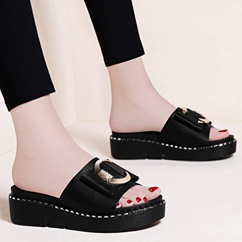 Para Mulas 35 Tamaño Selling Y Mujer Alto Plataforma Grande Moda Zapatillas Zapatos Black De Tacón Alto Sandalias black Verano Mujer q5xU4fpxwE