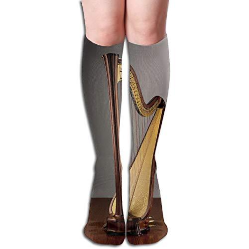 (Agilitynoun Women's Socks Knee High Thigh Long Stocking Harp Instrument Winter Warm Sexy Stocks)