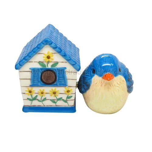 Hand Painted Ceramic Magnetic Salt and Pepper Shaker Set- Bird and Birdhouse (Birdhouse Salt)