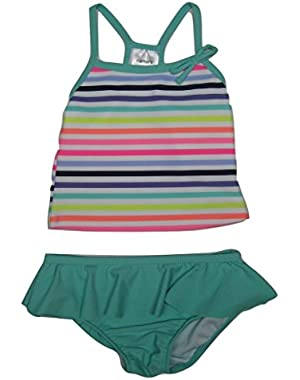 Baby Girls' 2-Piece Striped Swim Set