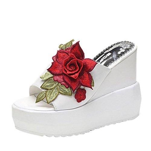 Hometom Wedge Sandals, Women's Comfy Embroidered Shoes Dress Wedges Platform Summer Beach Slippers Sandals (White, US:7) (Embroidered Comfy Slippers)