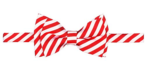 Retreez Striped Woven Microfiber Pre-tied Boy's Bow Tie - Red and White Stripe - 6-18 months
