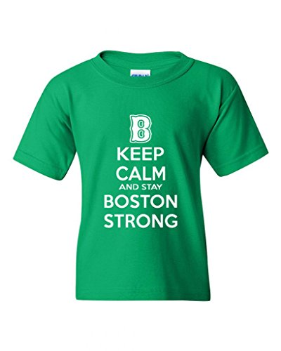 Keep Calm And Stay Boston Strong Statement Novelty Youth Kids T-Shirt Tee (X-Large, Irish Green)