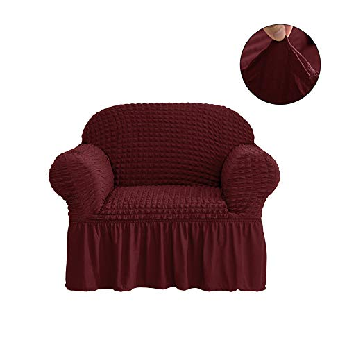 - CHUN YI 1-Piece All-Purpose Universal Easy Fitted Armchair Sofa Couch Cover Stretchable High Elasticity Durable Furniture Protector Arm Chair Slipcover with Skirt (Chair, Wine)