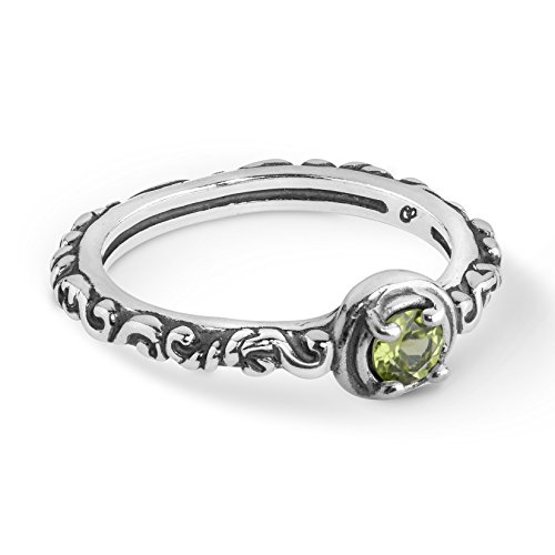 925 Silver & Faceted Peridot Single Stone Band Ring - Size ()