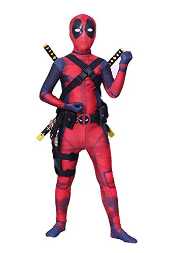 Nedal Halloween Onesie Kids Cosplay Costume Bodysuit Lycra Zentai Onesie (Deadpool Boys Costume)